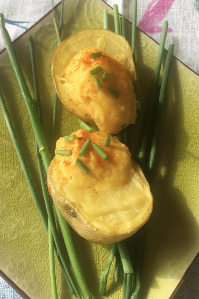 These vegan deviled potatoes are a plant-based alternative to traditional deviled eggs. #eggless #dairyfree #vegan #vegetarian