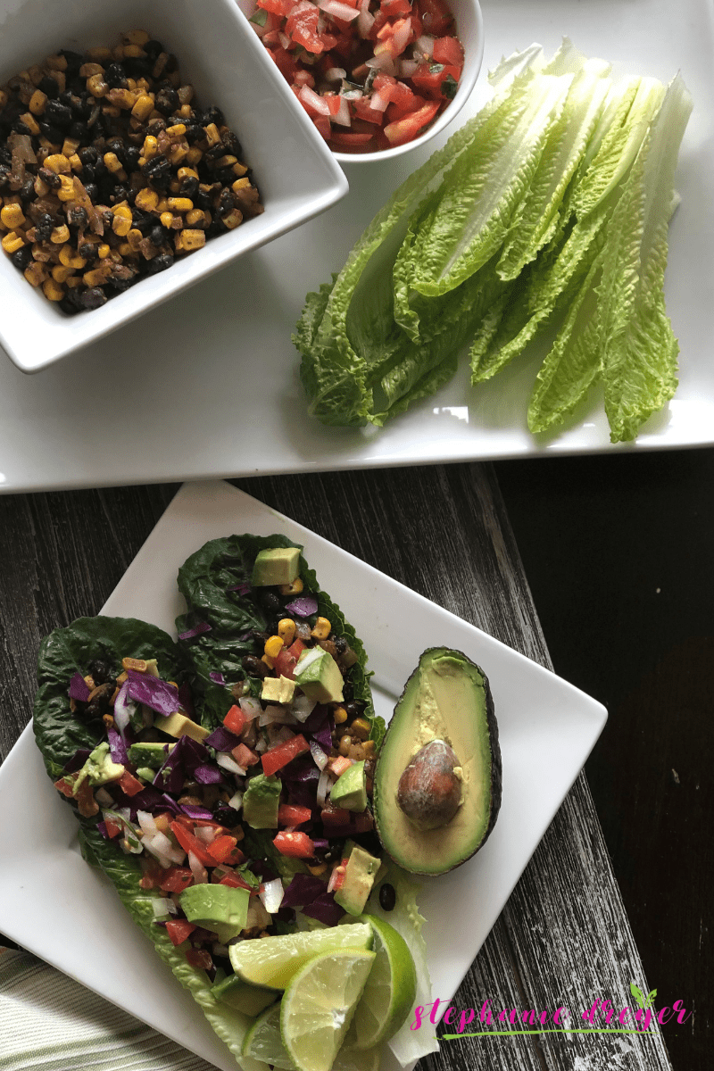 Try this veggie twist on Taco Tuesday. These tortilla-less Black Bean & Corn Romaine Tacos surround a savory filling with lots of crunch. With fresh pico de gallo, red cabbage and avocado, these lettuce tacos add lots of plant-power to Taco Tuesday!