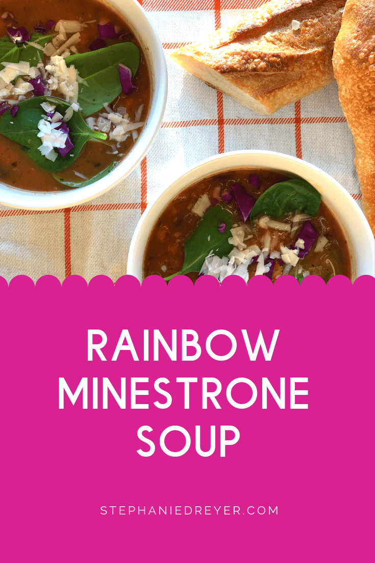 This vegan Minestrone Soup has lots of veggies going on! It's simple and quick to make. Just let it simmer on the stove until you're ready to spoon in. Serve with freshly grated vegan Parmesan cheese and a chunk of crusty Italian bread.